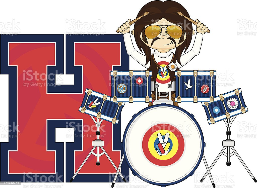Cute Hippie Drummer Learning Letter H royalty-free stock vector art