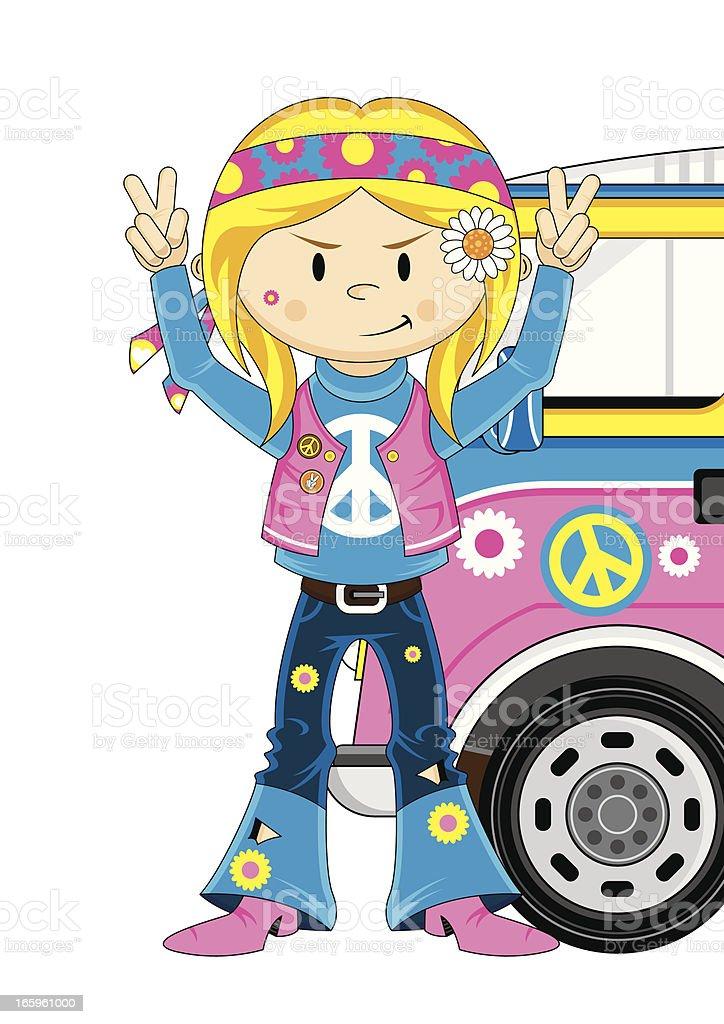 Cute Hippie Girl and Camper Van royalty-free stock vector art