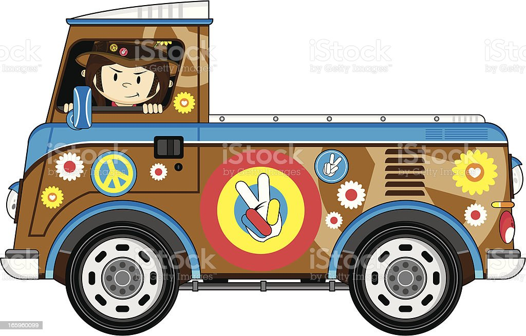 Cute Hippie in Pick-Up Van vector art illustration