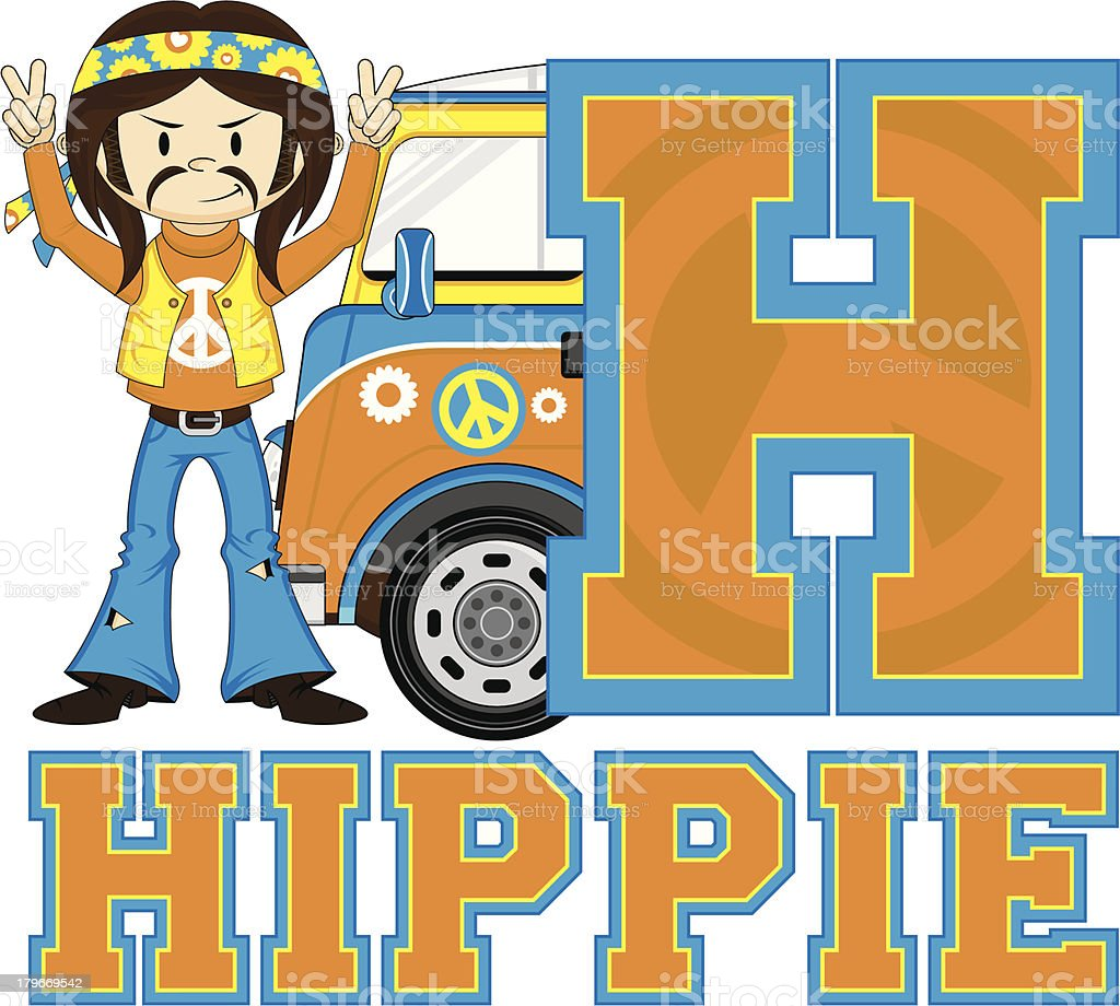 Cute Hippie & Van Learning Letter H royalty-free stock vector art