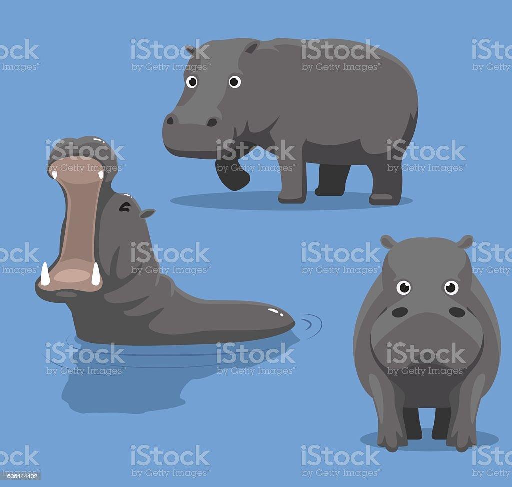 Cute Hippopotamus Cartoon Vector Illustration vector art illustration