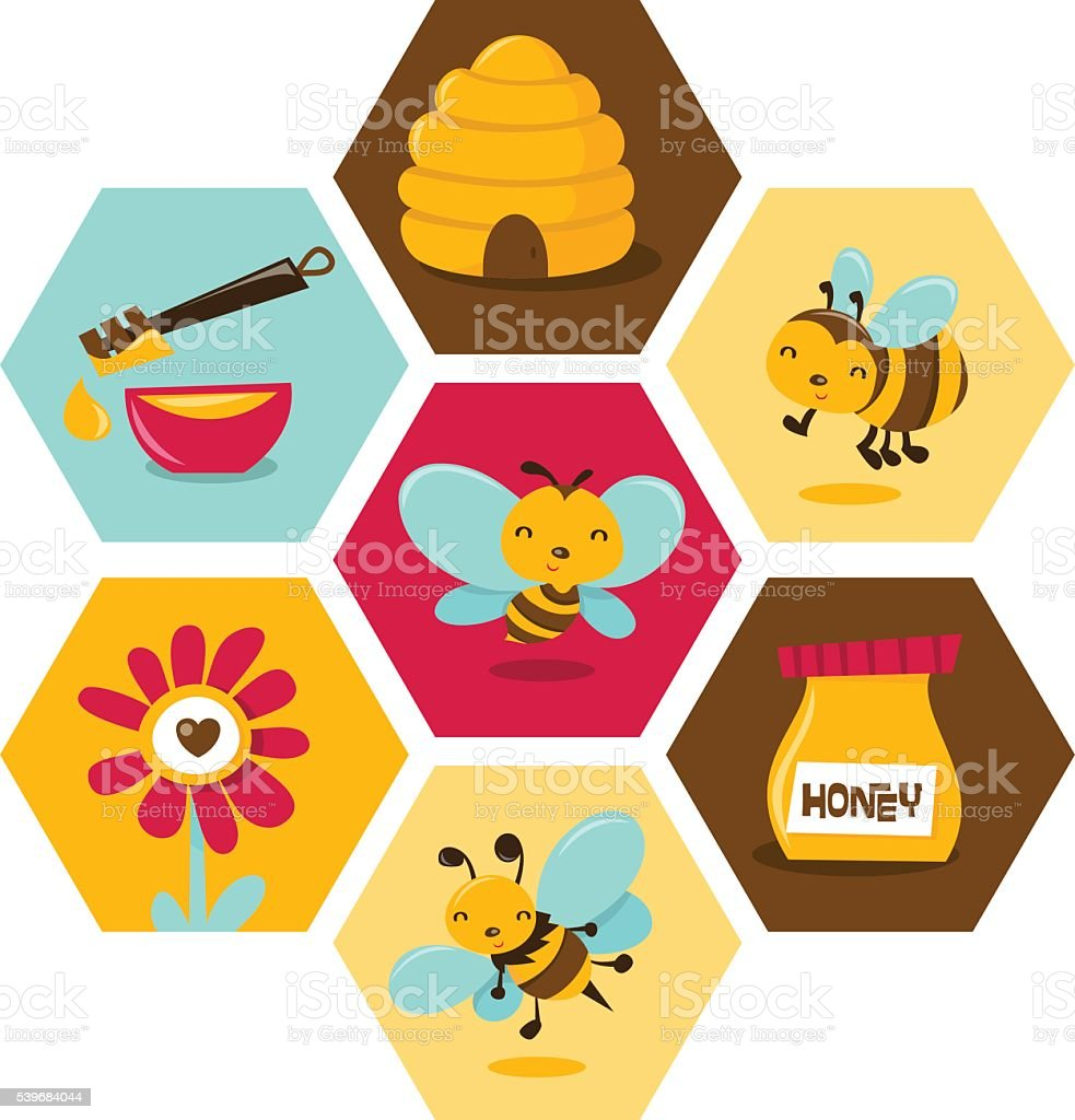 Cute Honey Bee Honeycomb Hexagon vector art illustration