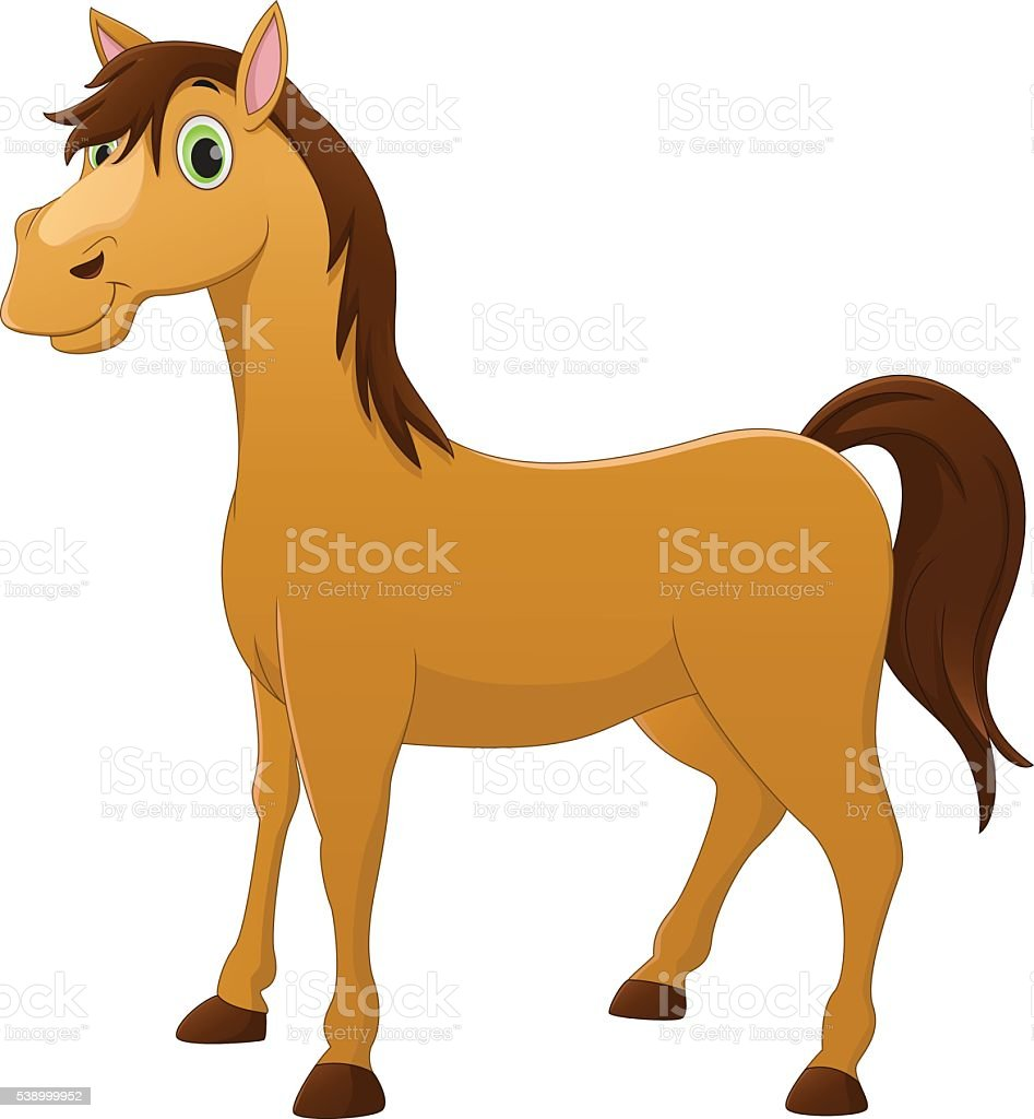cute horse cartoon vector art illustration