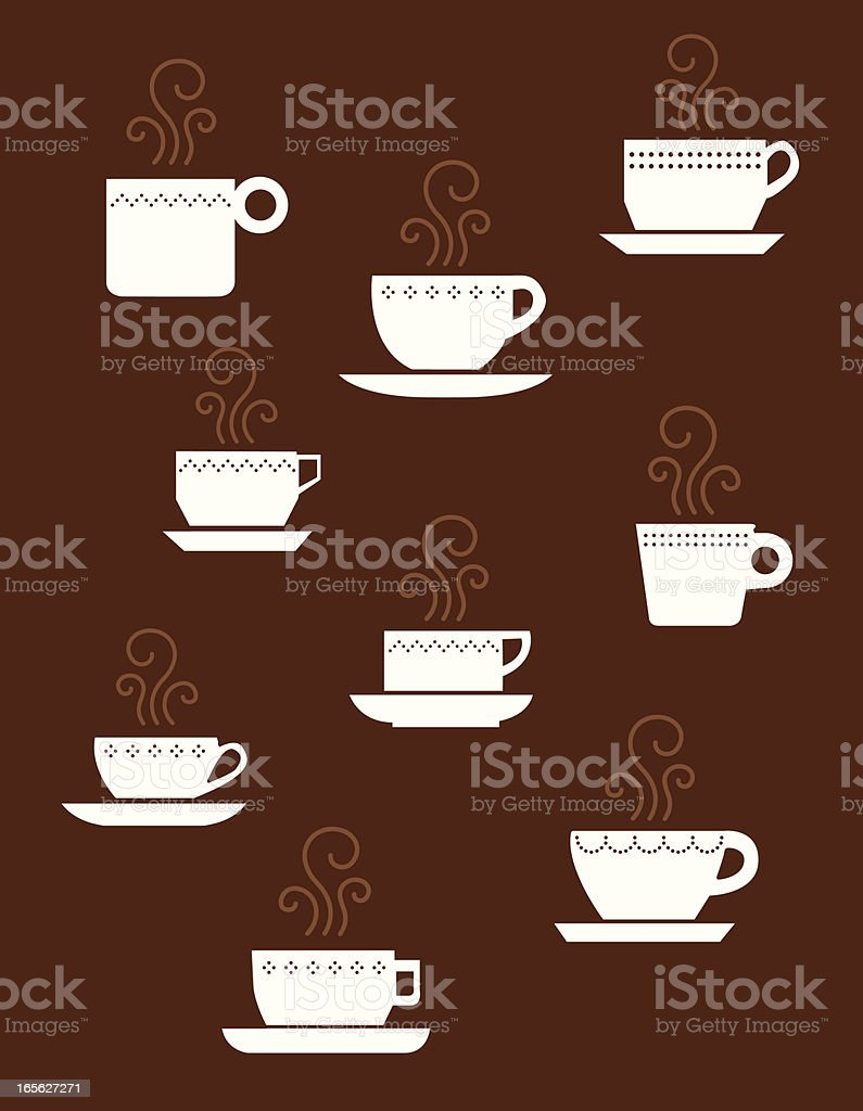 Cute Hot Drinks vector art illustration