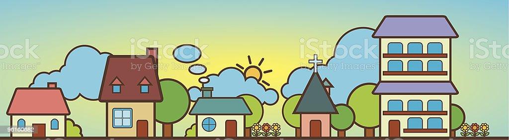Cute House Landscape vector art illustration