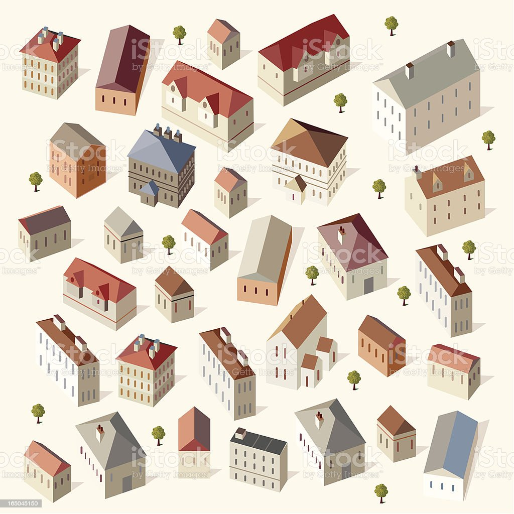 Cute Houses vector art illustration
