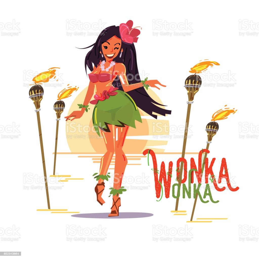 cute hula girl in hibiscus necklace with lighting pole. Hawaii concept. character design - vector vector art illustration