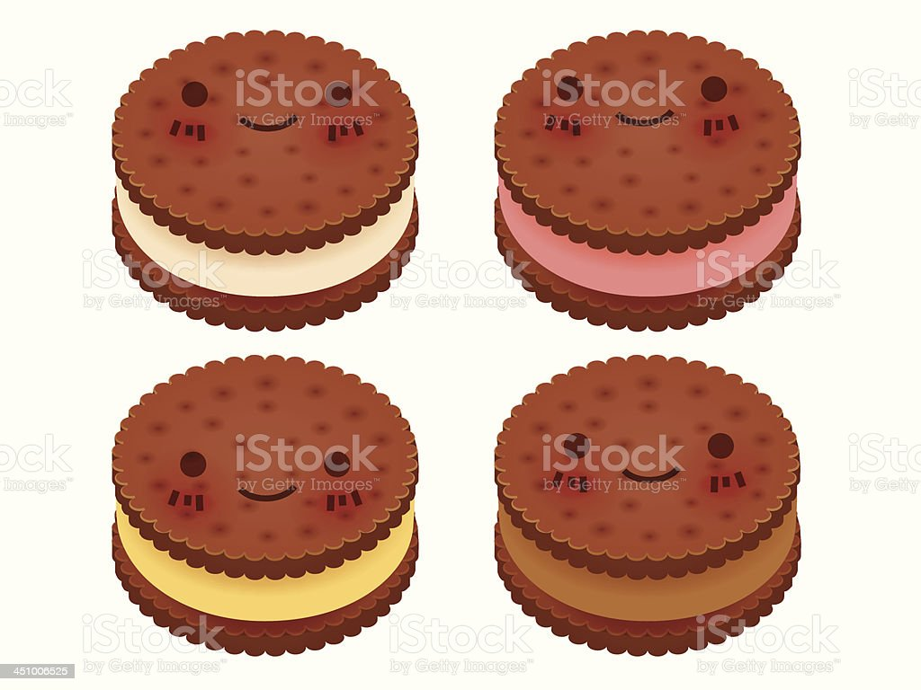 Cute Ice Cream Sanwich Collection royalty-free stock vector art