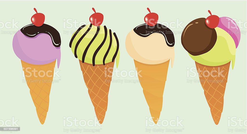 Cute Ice Creams royalty-free stock vector art