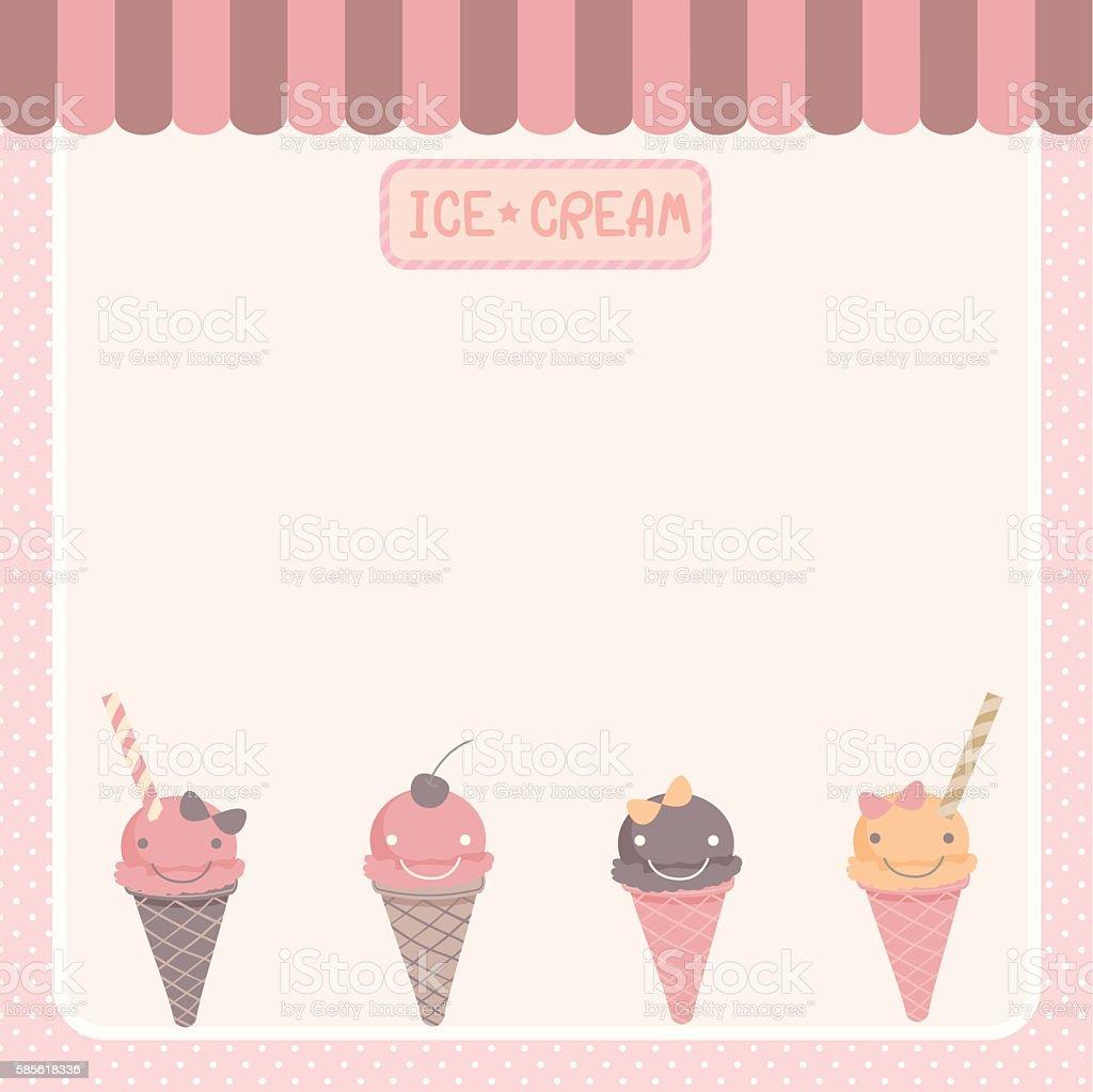 cute ice-cream  pink template vector art illustration