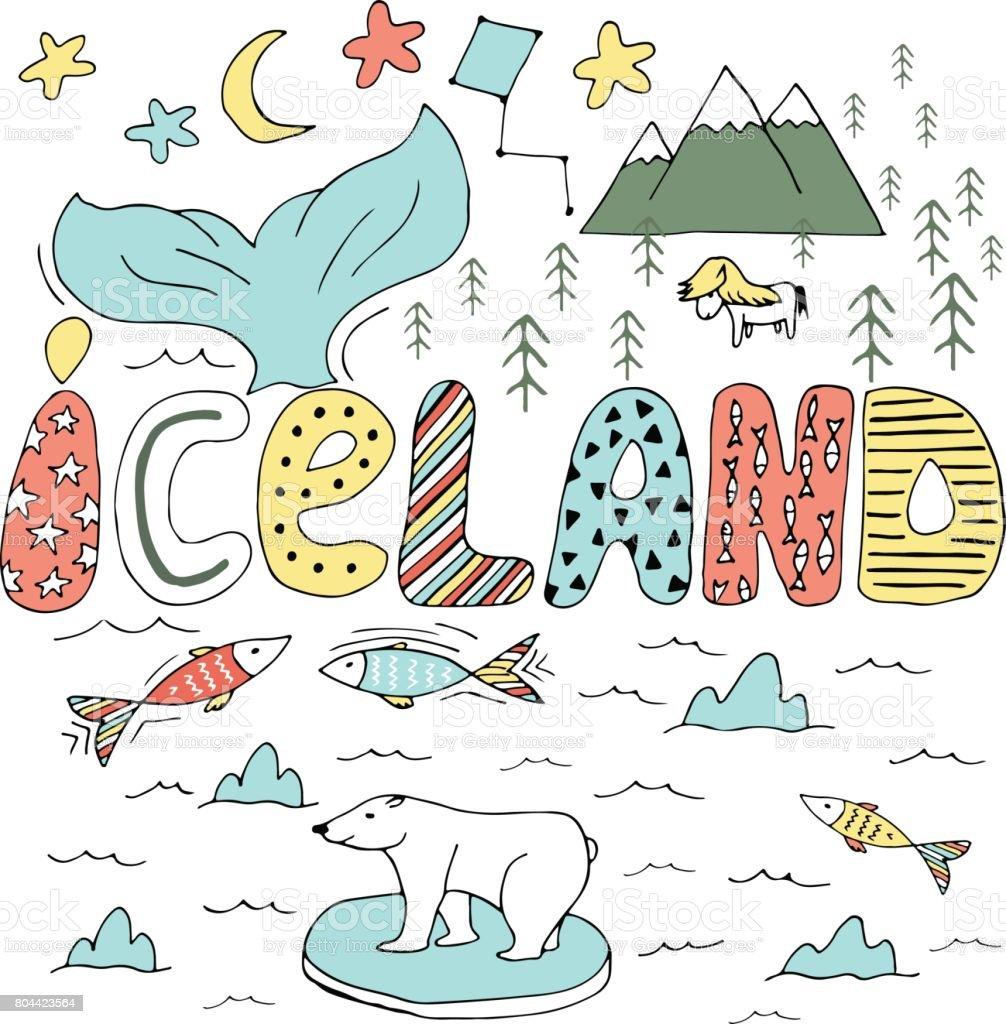 Cute Iceland hand drawn cartoon map. Vector illustration with travel landmarks, animals and natural phenomena. vector art illustration