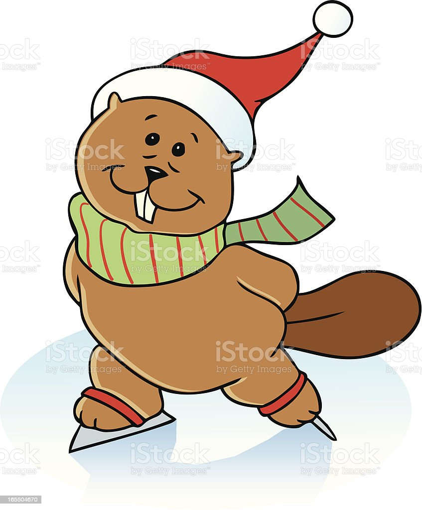 Cute ice-skating beaver royalty-free stock vector art