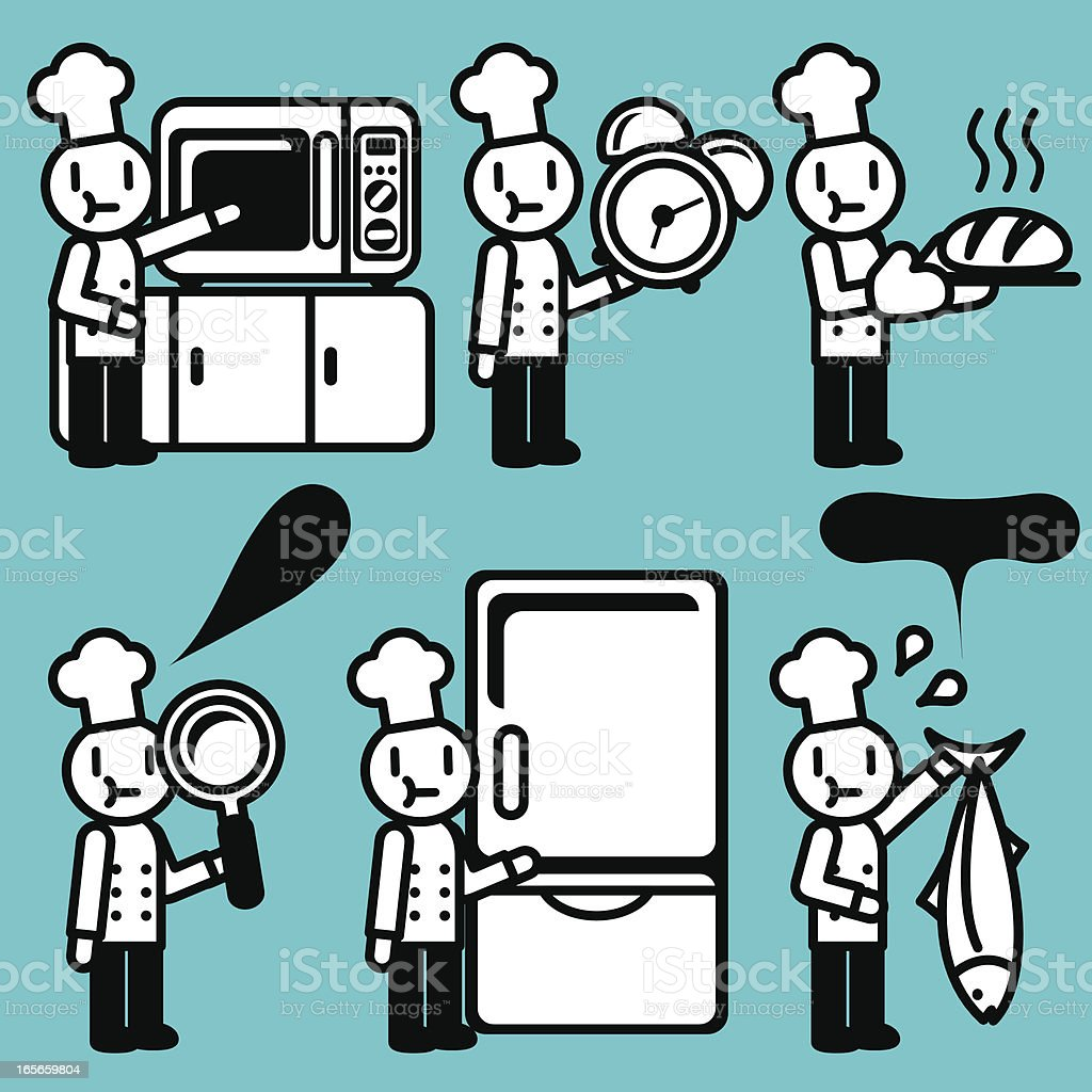 cute icon set chef baking and researching stock vector art cute icon set chef baking and researching food service royalty stock