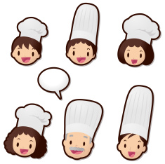 Cute Icon Set ( Emoticons ): Chef family (Food Service) vector art illustration