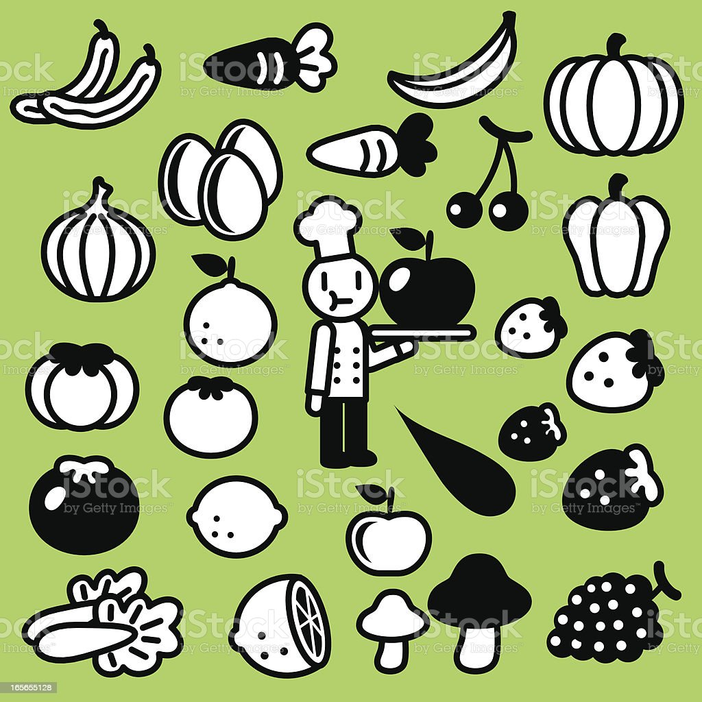 Cute Icon Set: Chef, fruits and vegetables ( Healthy Eating ) royalty-free stock vector art