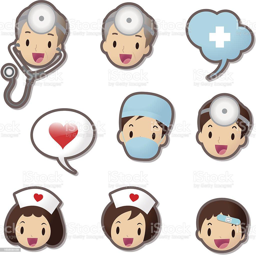 Cute Icon set ( Emoticons ) - Medical Staff(Doctor and Nurse) vector art illustration