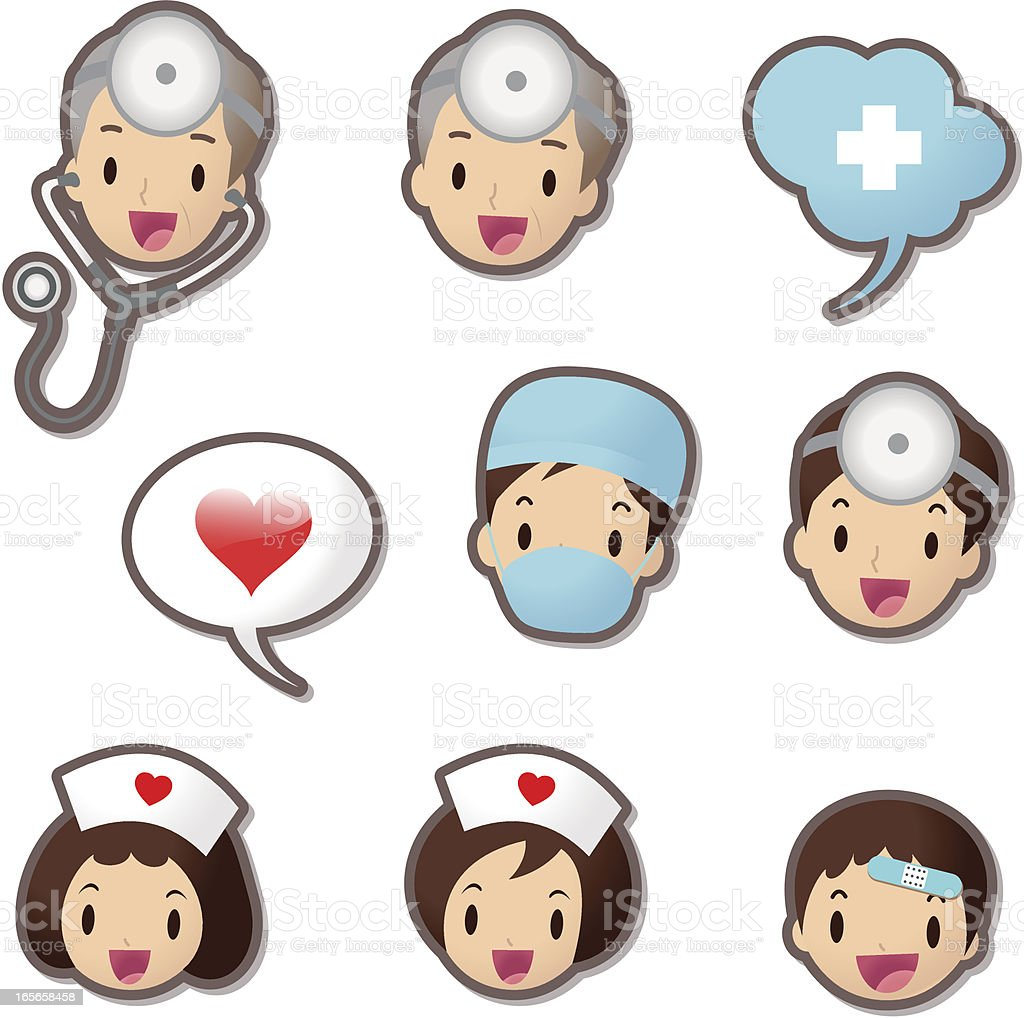 Cute Icon set ( Emoticons ) - Medical Staff(Doctor and Nurse) vector art illustration