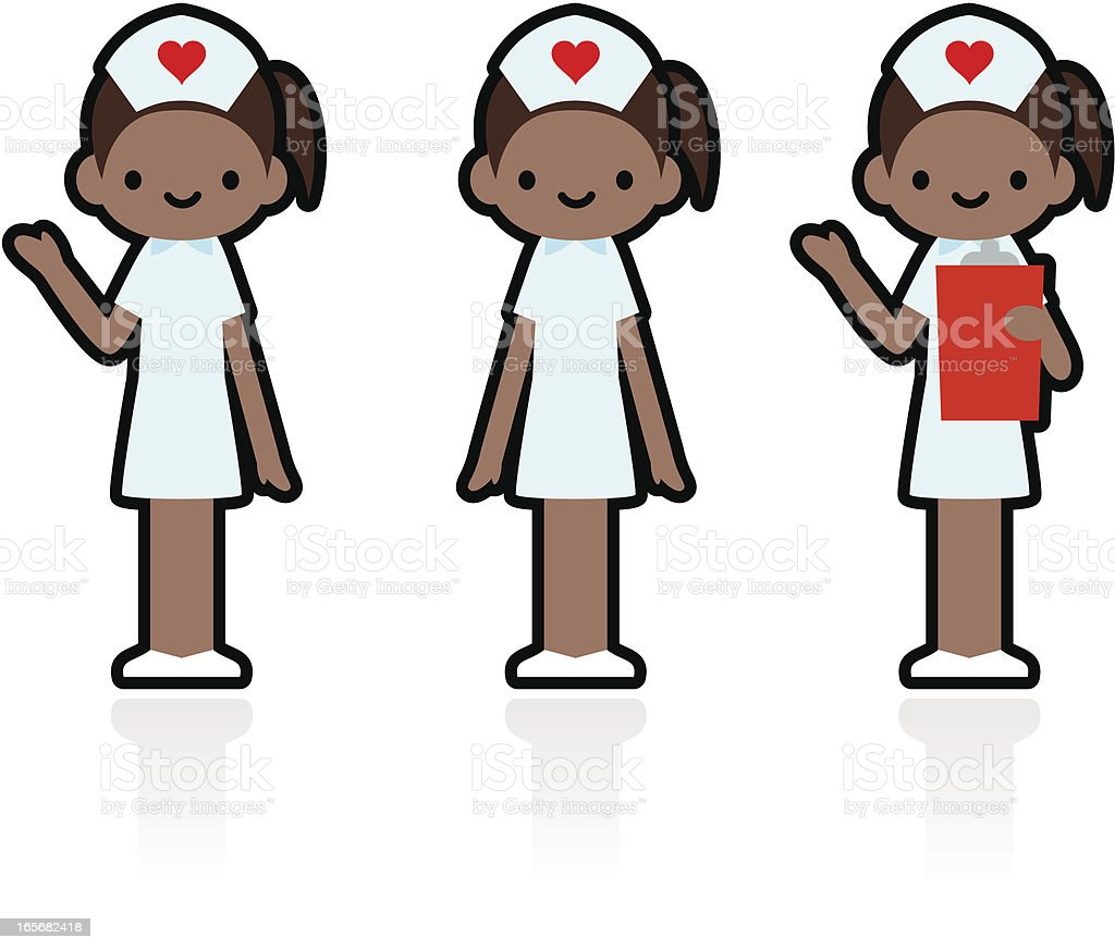 Cute Icon Set: Professional and Kindly Smiling Nurse vector art illustration