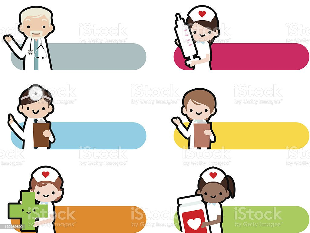Cute Icon Set: Professional Kindly Doctor And Smiling Nurse royalty-free stock vector art