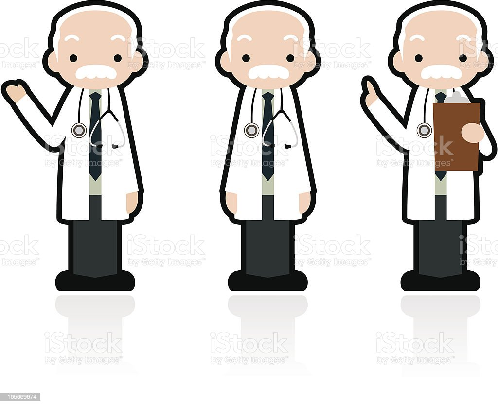Cute Icon Set: Professional Kindly Doctor Giving A Good Advice vector art illustration