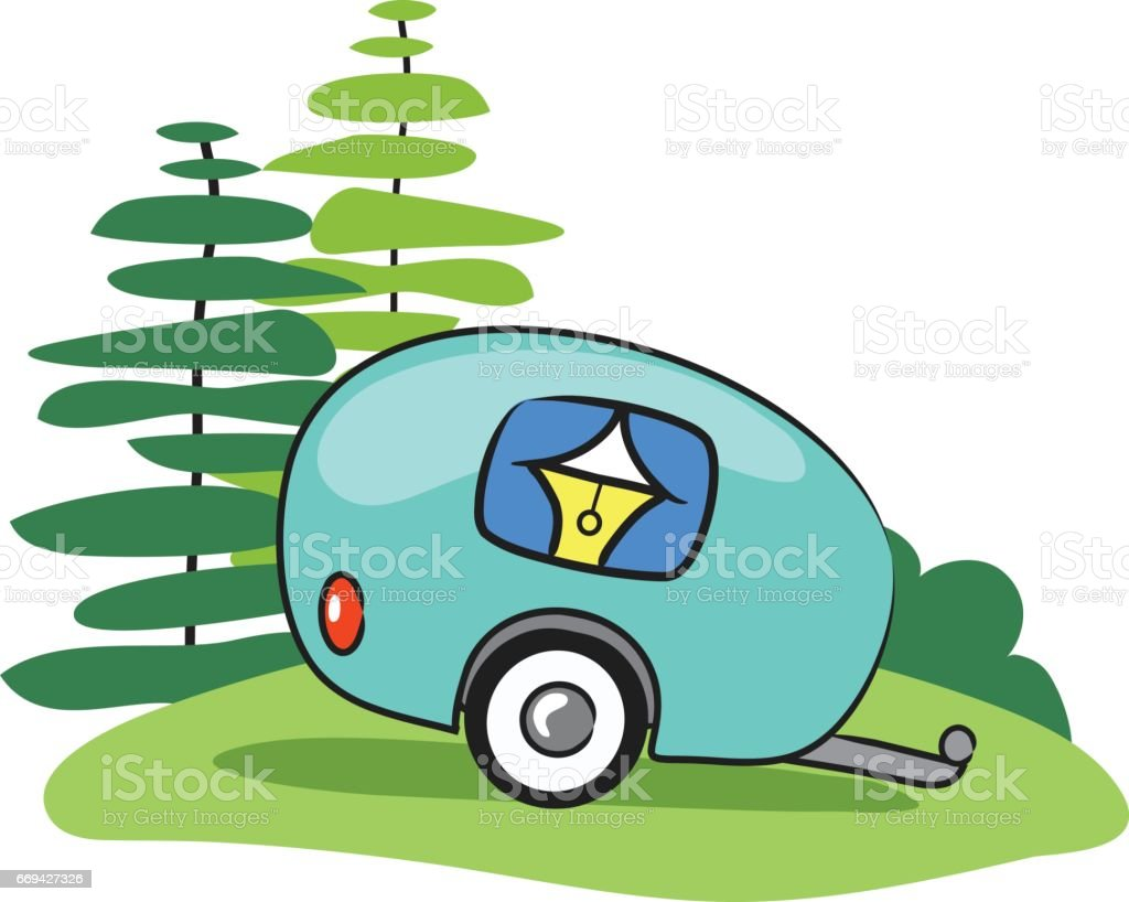cute illustration of a camper trailer in the woods vector art illustration