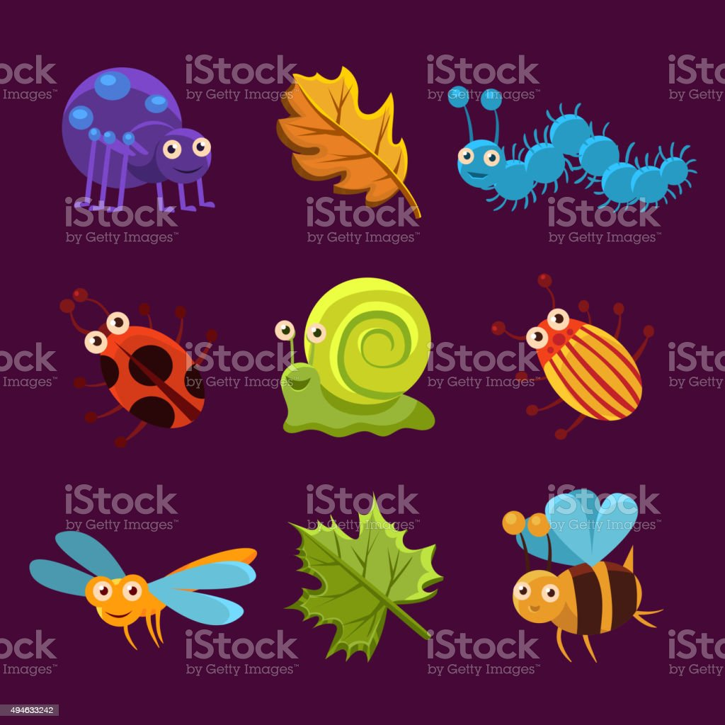Cute Insects and Leaves with Emotions. Vector Illustration vector art illustration