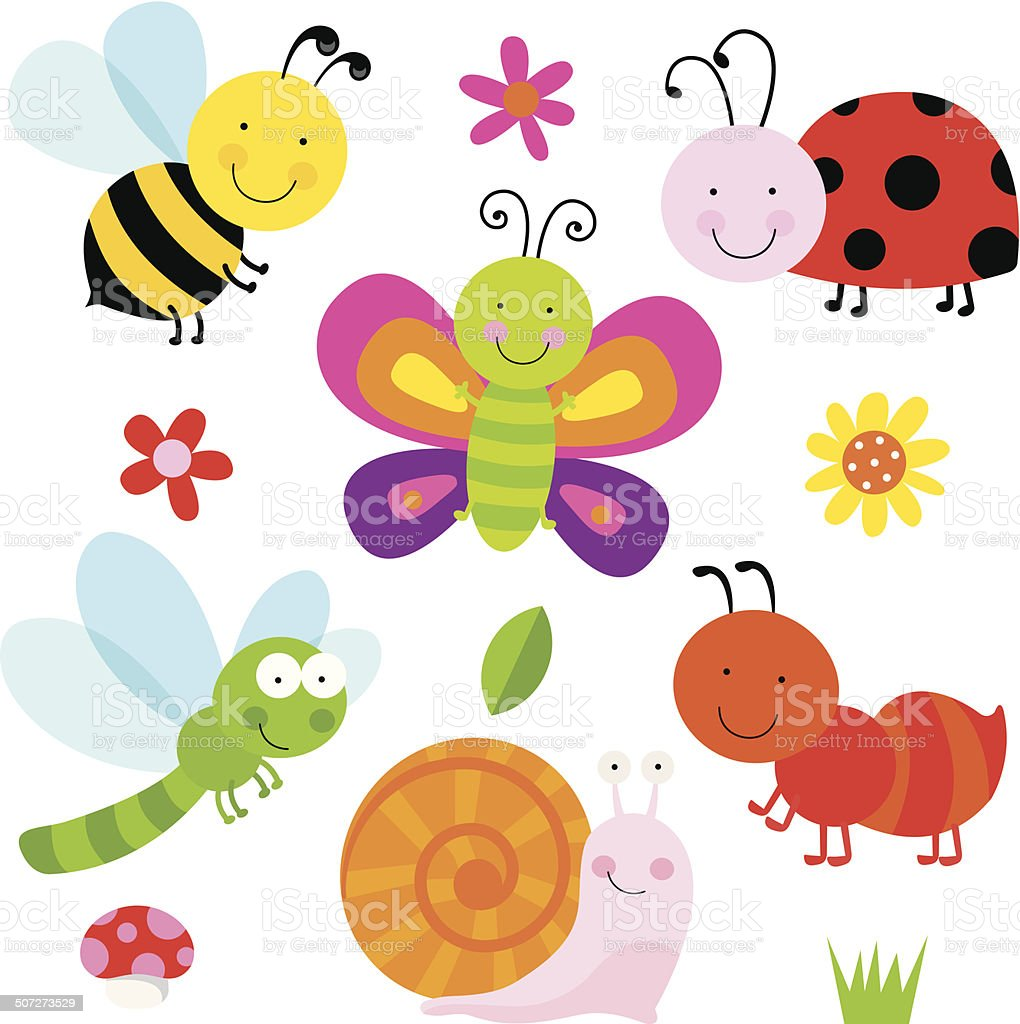 Cute Insects vector art illustration