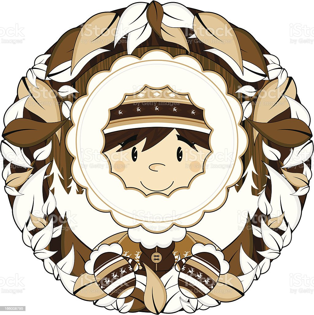 Cute Inuit Boy and Wreath royalty-free stock vector art