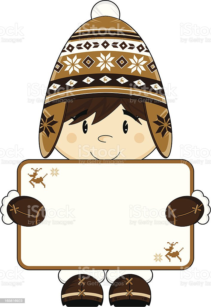 Cute Inuit Boy with Sign vector art illustration