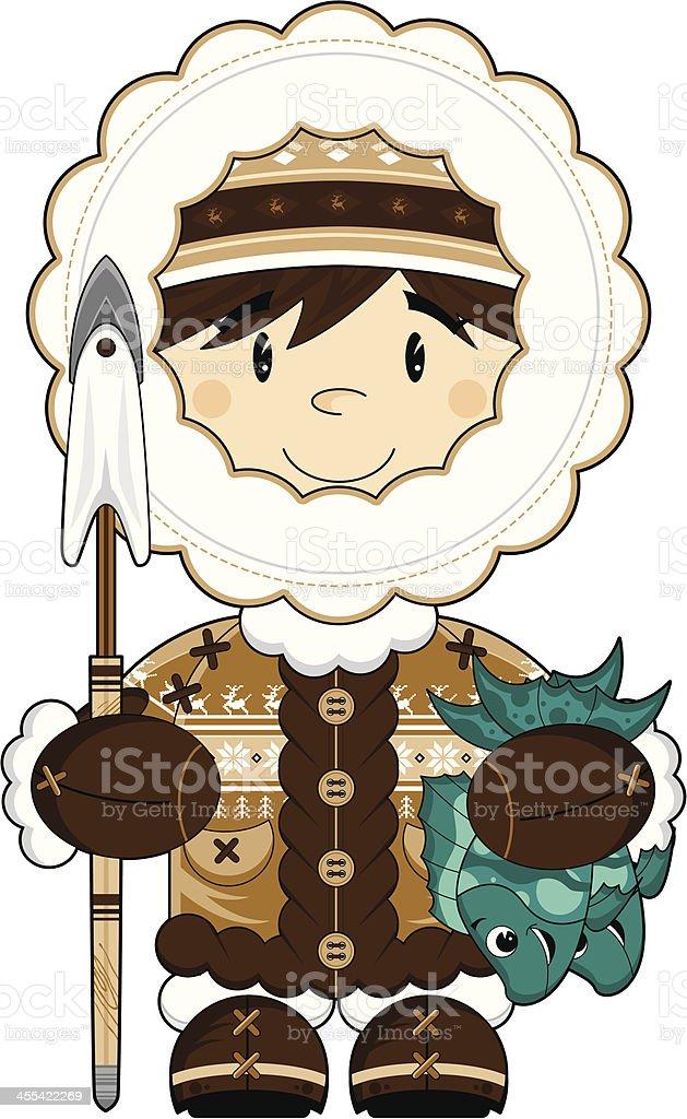 Cute Inuit Fisherman Boy vector art illustration