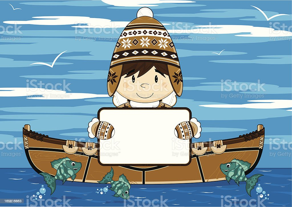Cute Inuit Fisherman Holding Sign in Kayak royalty-free stock vector art