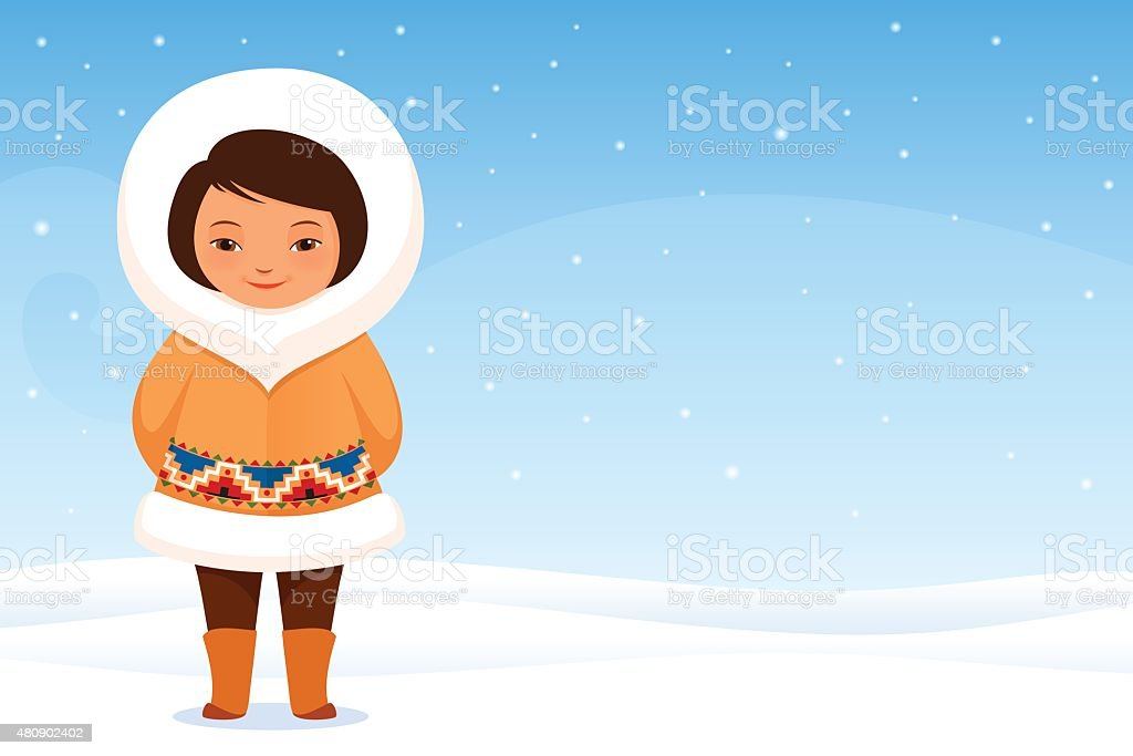 cute Inuit girl in traditional clothes with snow background vector art illustration