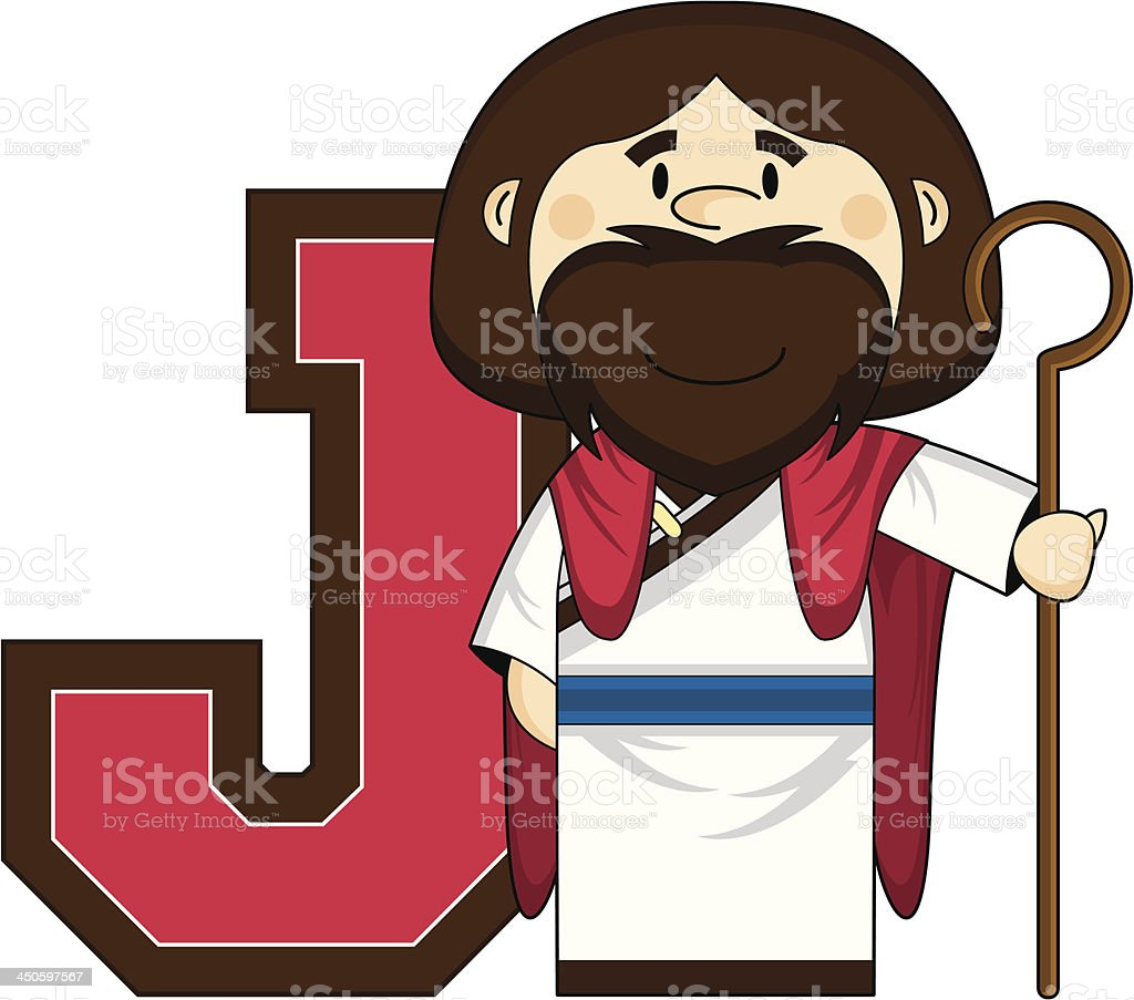 Cute Jesus Learning Letter J royalty-free stock vector art
