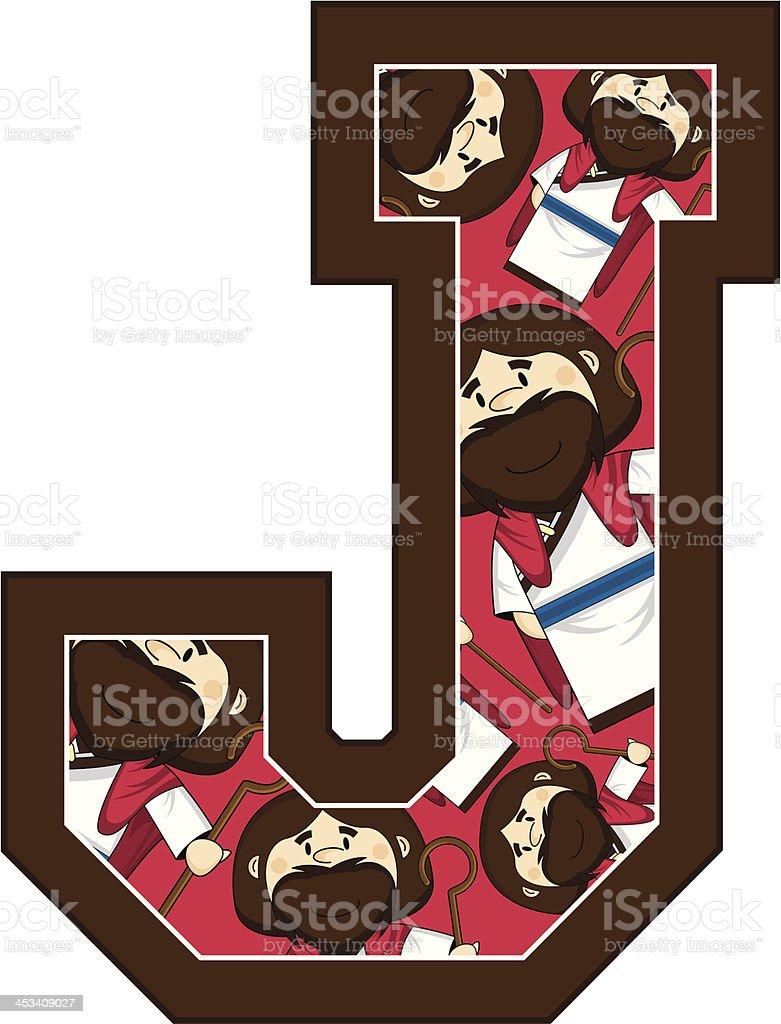 Cute Jesus Learning Letter J royalty-free stock vector art