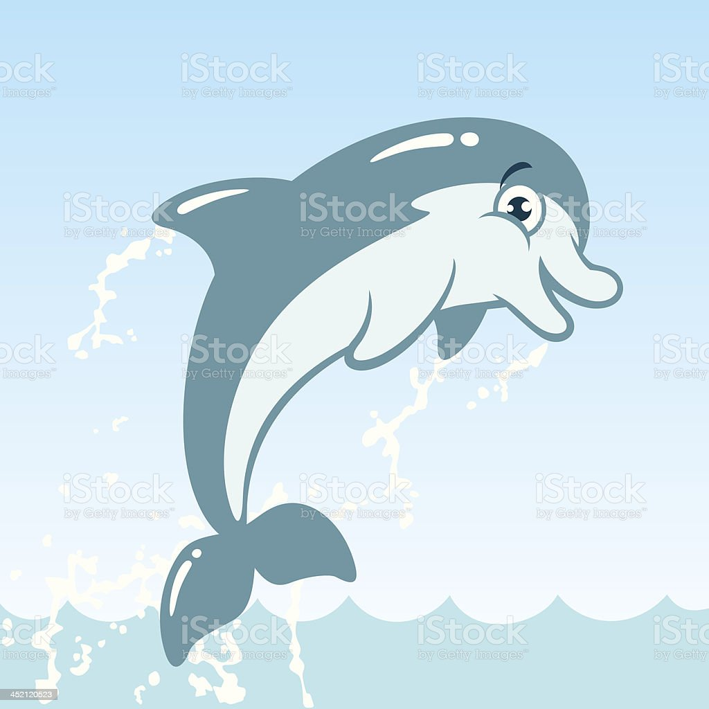 Cute Jumping Dolphin Cartoon Character vector art illustration