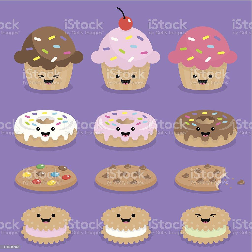 Cute kawaii cupcake, donuts and cookies vector art illustration