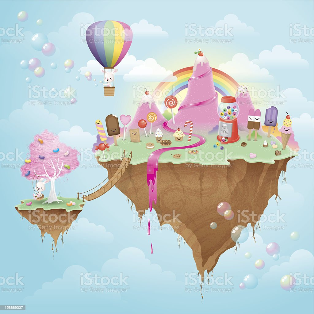 Cute kawaii floating Candy Island vector art illustration