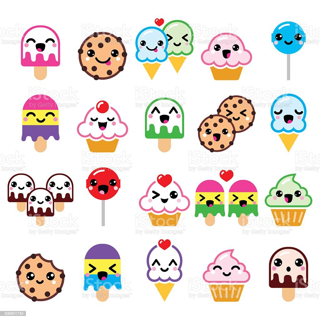Cute Kawaii food characters - cupcake, ice-cream, cookie, lollipop icons vector art illustration