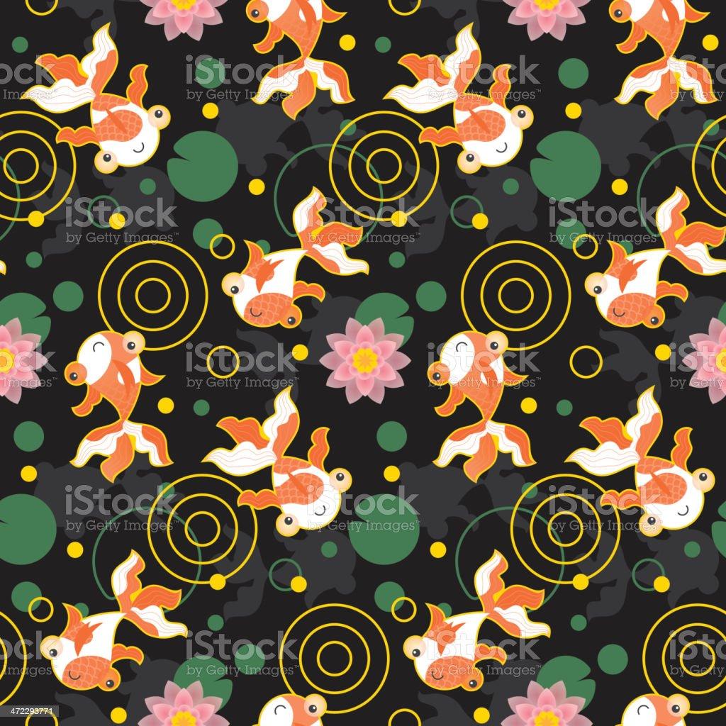 Cute kawaii goldfish pond pattern black royalty-free stock vector art
