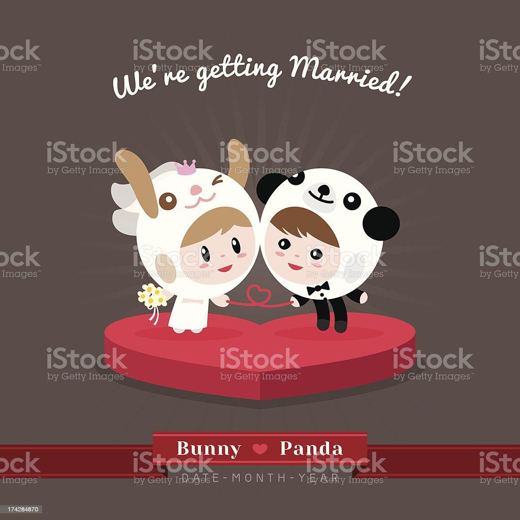 Cute kawaii groom and bride character royalty-free stock vector art