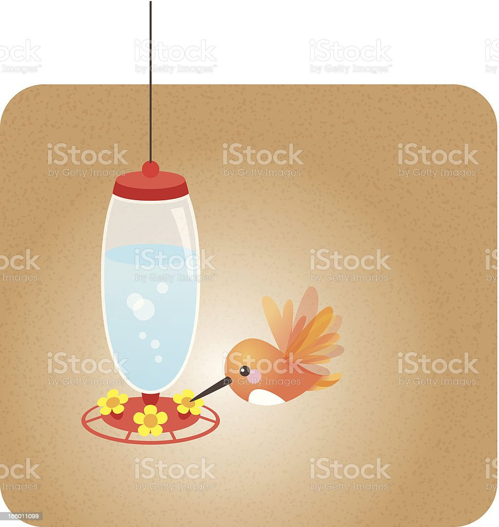 Cute kawaii Hummingbird feeder vector art illustration