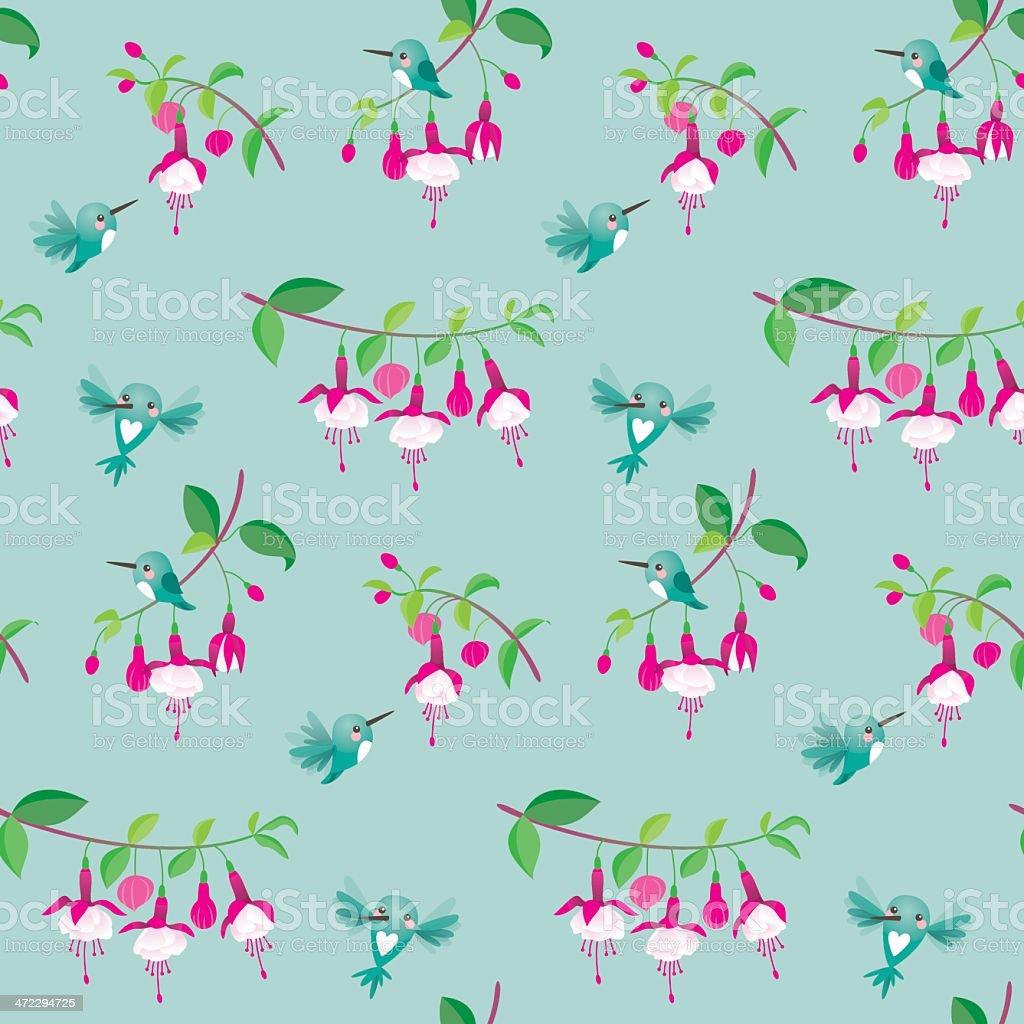 Cute kawaii hummingbird fuchsia pattern royalty-free stock vector art