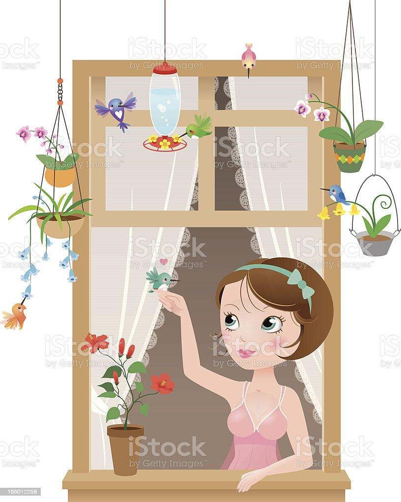 Cute kawaii hummingbirds window girl royalty-free stock vector art