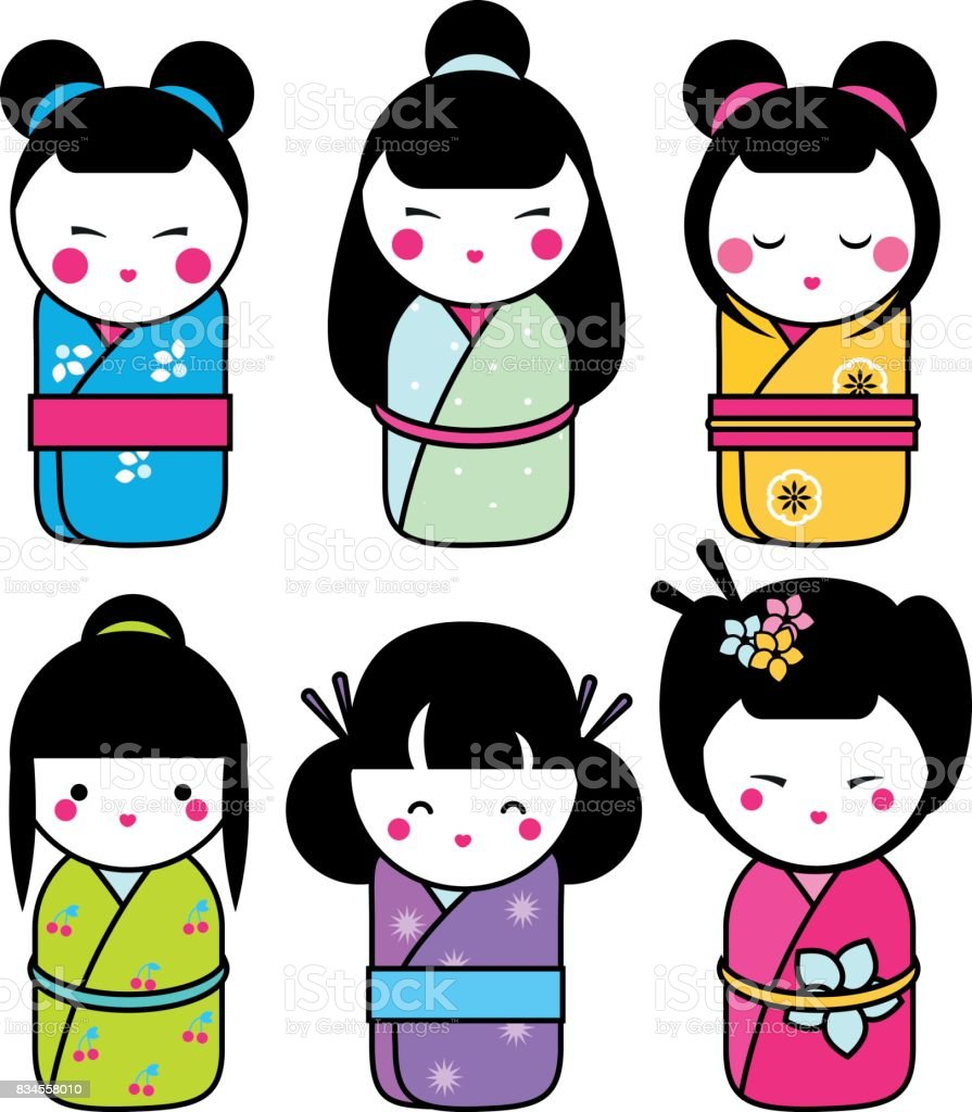 Cute kawaii kokeshi dolls stickers set. Traditional japanese dolls. hand drawn style icons vector art illustration