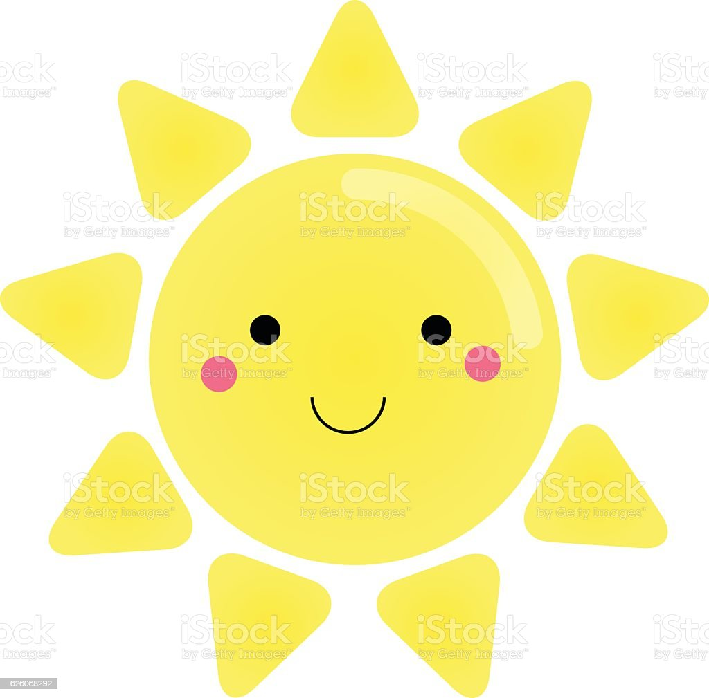 Cute Kawaii Sun Character Vector Illustration For Kids