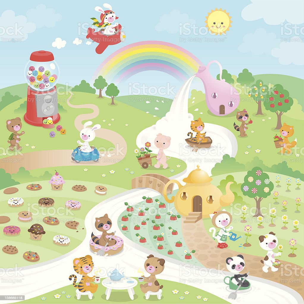 Cute kawaii sweet candy paradise and animals vector art illustration