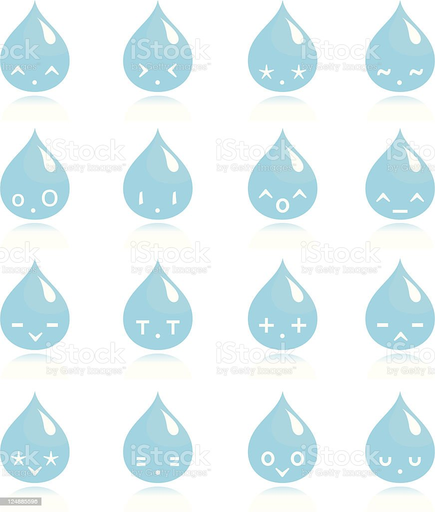kawaii water drops vector art illustration