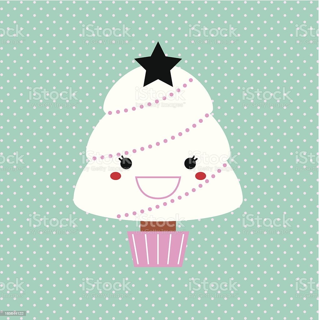 Cute Kawaii Xmas Tree isolated on dotted background royalty-free stock vector art