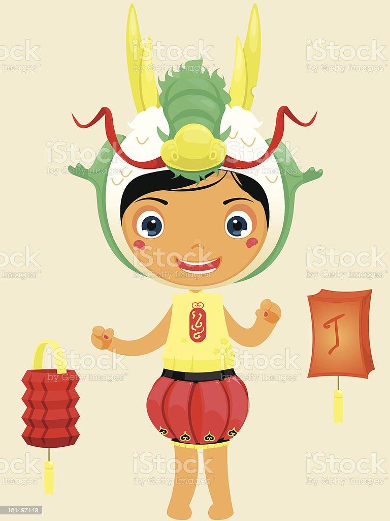 cute kid in costume vector art illustration