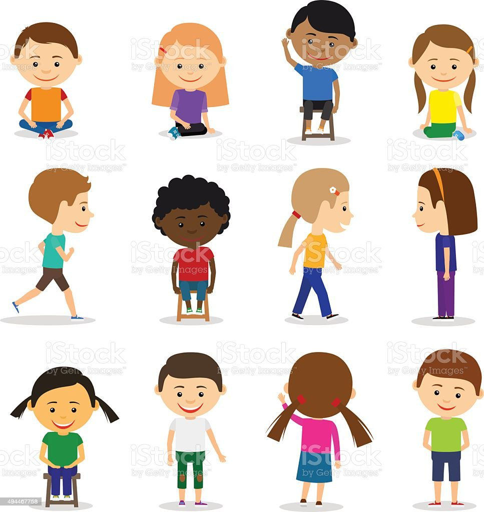 Cute kids characters vector art illustration